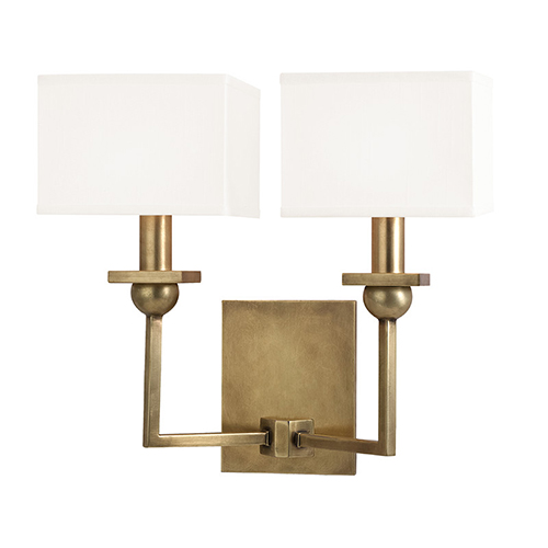 Hudson Valley Morris Aged Brass Two-Light Wall Sconce with White Shade