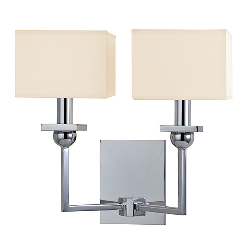 Hudson Valley Morris Polished Chrome Two-Light Wall Sconce with Cream Shade