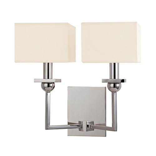 Hudson Valley Morris Polished Nickel Two-Light Wall Sconce with Cream Shade
