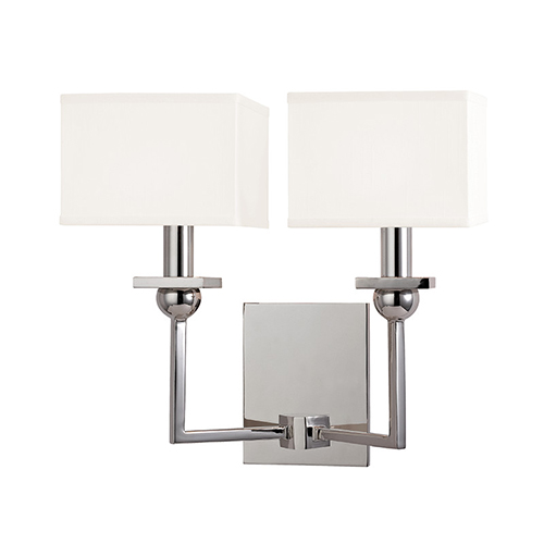 Hudson Valley Morris Polished Nickel Two-Light Wall Sconce with White Shade