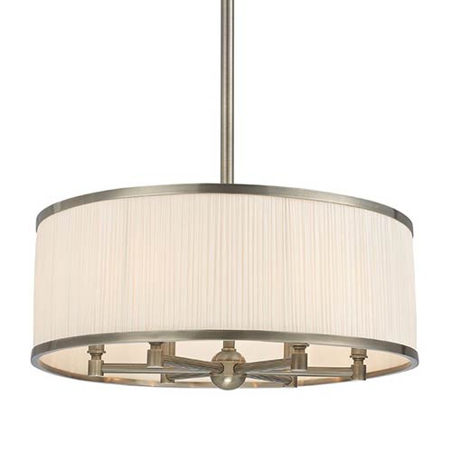 Hudson Valley Hastings Historic Nickel Six-Light Chandelier with White Pleated Silk Shade
