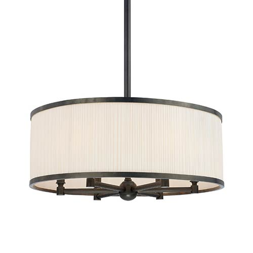 Hastings Old Bronze Six-Light Pendant with Natural Shade