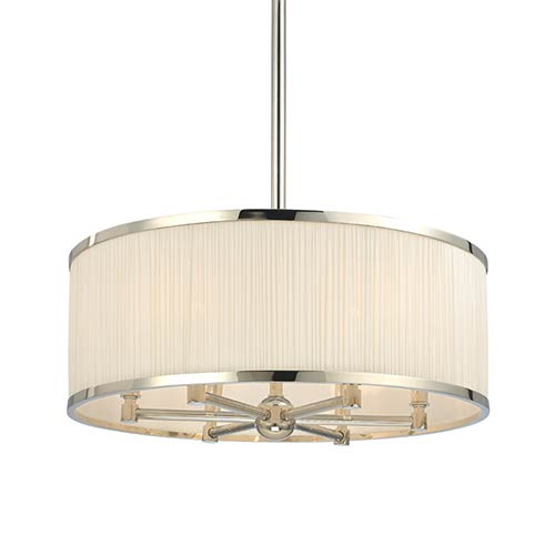 Hudson Valley Hastings Polished Nickel Six-Light Pendant with Natural Shade