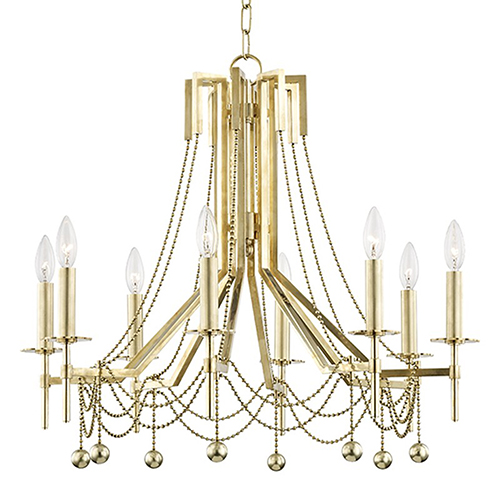 Zariah Aged Brass 8-Light 27.5-Inch Chandelier