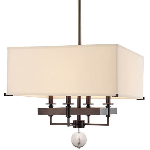 Gresham Park Old Bronze 19-Inch Four-Light Pendant with White Faux Silk Shade
