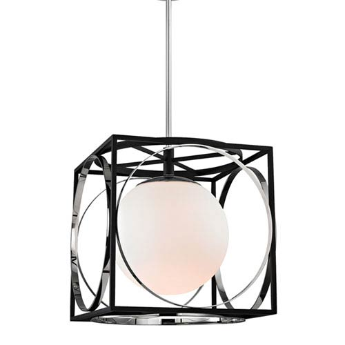 Wadsworth Polished Nickel and Black 18-Inch One-Light Pendant