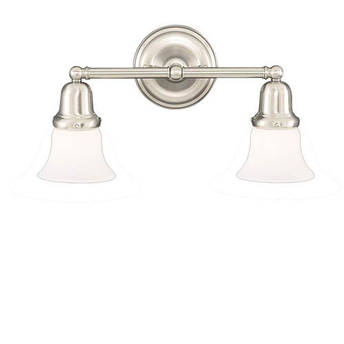 Hudson Valley Edison Old Bronze Two-Light Bath Bracket with Small Bell Opal Matte Glass