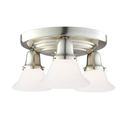 Hudson Valley Edison Old Bronze Three-Light Semi Flush with Opal Glossy Glass