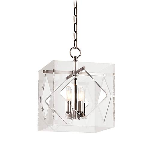 Hudson Valley Travis Polished Nickel Four-Light Pendant with Clear Acrylic Shade