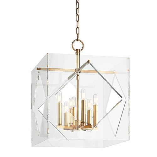 Hudson Valley Travis Aged Brass Eight-Light 20-Inch Wide Pendant with Clear Acrylic Shade