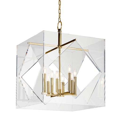 Travis Aged Brass Eight-Light 24-Inch Wide Pendant with Clear Acrylic Shade
