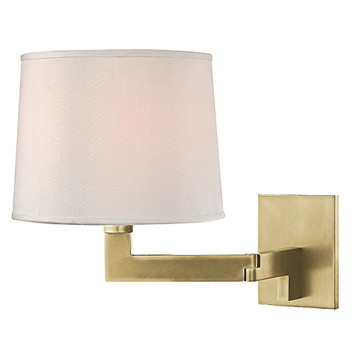 Hudson Valley Fairport Aged Brass One-Light 9-Inch Wide Wall Sconce with White Shade