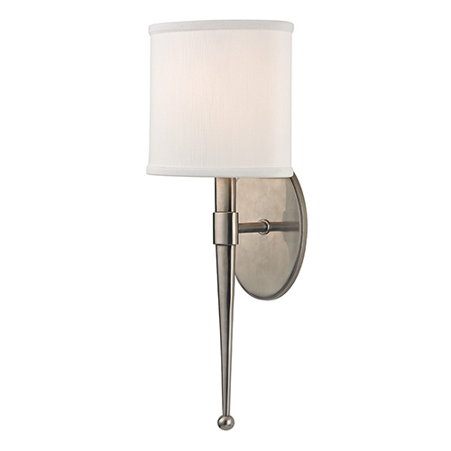 Hudson Valley Madison Historic Nickel One-Light Wall Sconce with White Shade