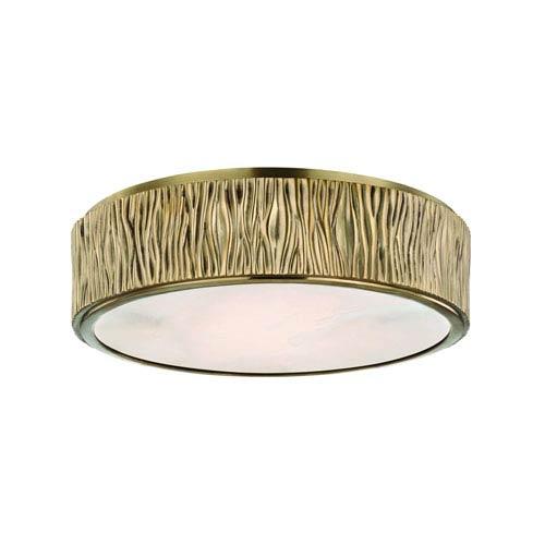 Crispin Aged Brass LED Flush Mount