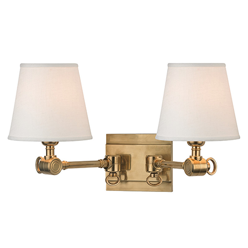 Hudson Valley Hillsdale Aged Brass Two-Light Swivel Wall Sconce with White Shade