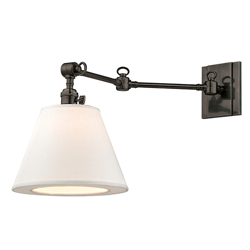 Hillsdale Old Bronze One-Light 13-Inch High Swivel Wall Sconce with White Shade