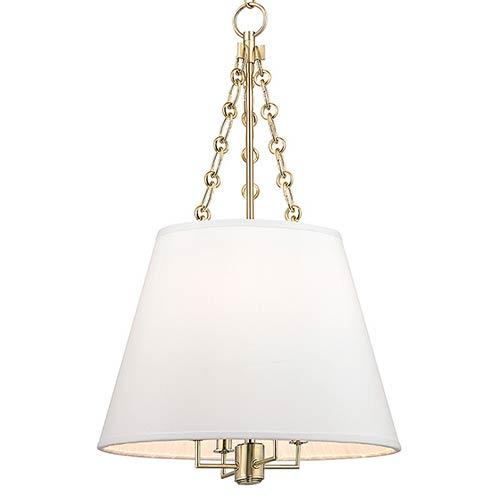 Hudson Valley Lighting Bulbs: Hudson Valley Burdett Aged Brass Four Light Pendant With