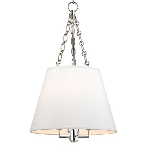 Hudson Valley Burdett Polished Nickel Four-Light Pendant with White Shade