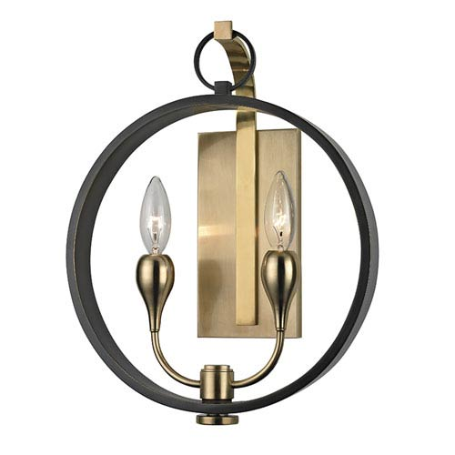 Dresden Aged Old Bronze Two-Light Wall Sconce