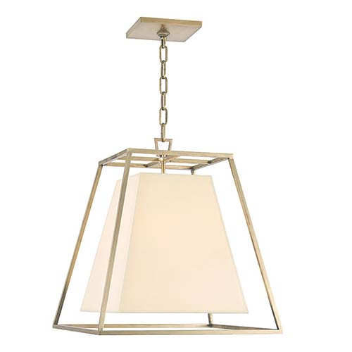 Kyle Aged Brass Four-Light Pendant with Cream Shade