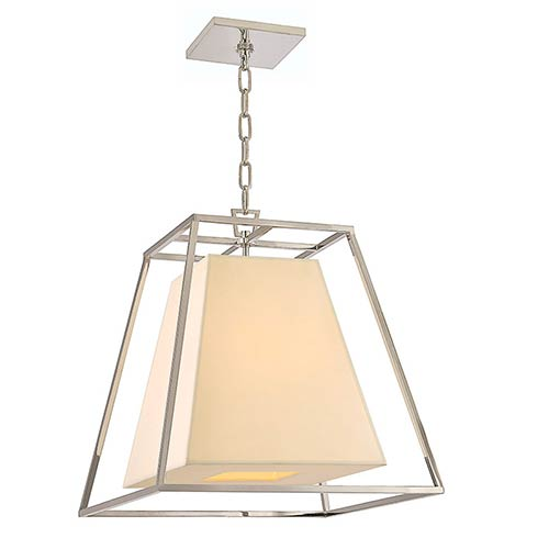 Hudson Valley Kyle Polished Nickel Four-Light Pendant with Cream Shade