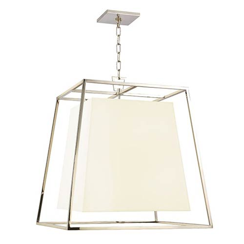 Hudson Valley Kyle Polished Nickel Four-Light Pendant with White Faux Silk Shade