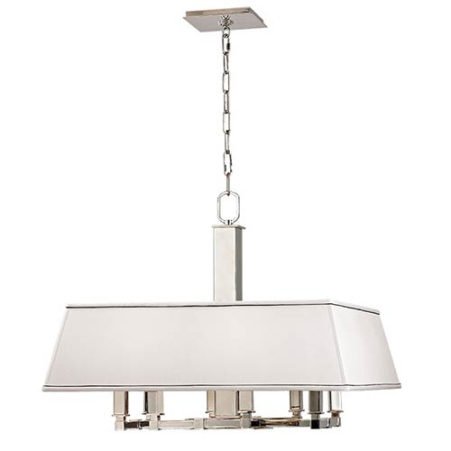Hudson Valley Kingston Polished Nickel Eight-Light Chandelier with White Shade