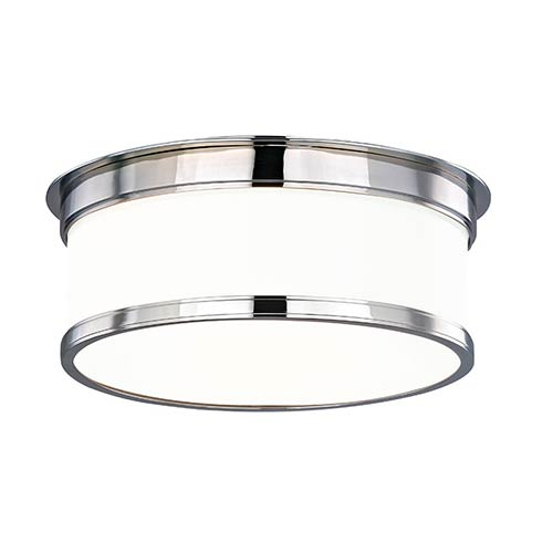 Hudson Valley Geneva Polished Chrome Two-Light Flush Mount with Glossy Opal Glass