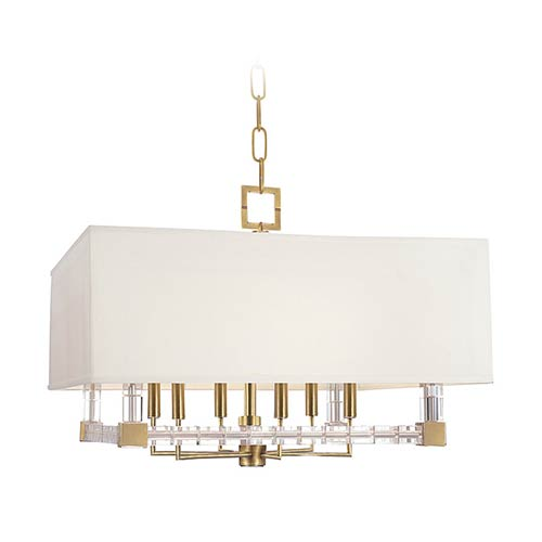 Hudson Valley Alpine Aged Brass Six-Light Chandelier with Off-White Faux Silk Shade