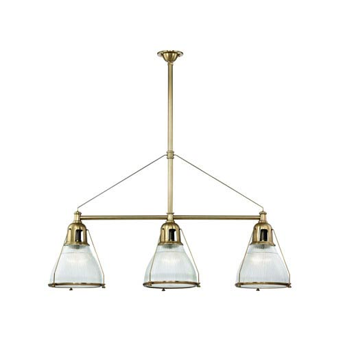 Hudson Valley Haverhill Aged Brass Three-Light Island Pendant