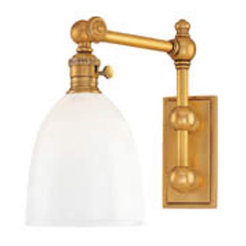 Hudson Valley Roslyn Aged Brass Swing Arm Wall Sconce with Opal Glass Shade