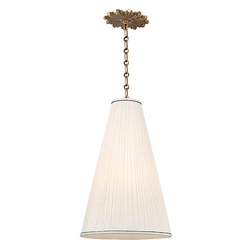 Hudson Valley Blake Aged Brass One-Light 14 Inch Diameter Pendant with Natural Shade