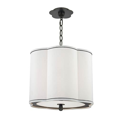Hudson Valley Sweeny Old Bronze Three-Light Pendant with White Shade