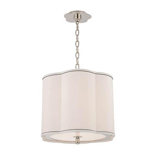 Sweeny Polished Nickel Three-Light Pendant with White Shade
