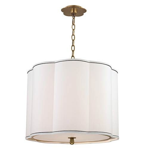 Sweeny Aged Brass Four-Light Pendant with White Shade