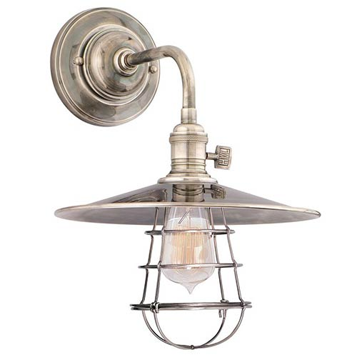 Hudson Valley Heirloom Historic Nickel One-Light Small Wall Sconce with Flat Metal Shade and Wire Guard