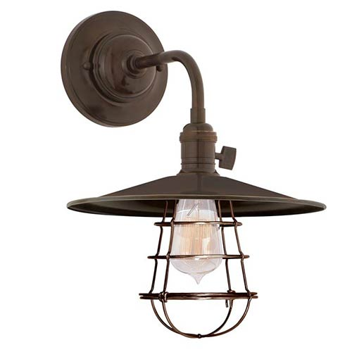 Heirloom Old Bronze One-Light Small Wall Sconce with Flat Metal Shade and Wire Guard