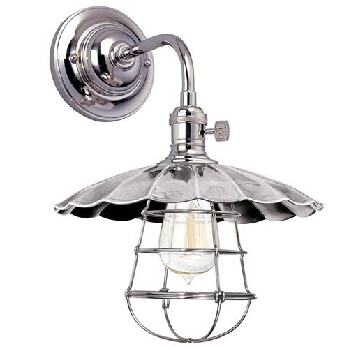 Heirloom Polished Nickel One-Light Small Wall Sconce with Scalloped Shade and Wire Guard