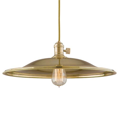 Hudson Valley Heirloom Aged Brass One-Light 5.5-Foot Cord Pendant with Large Flared Metal