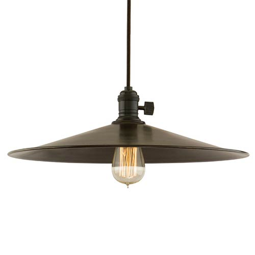 Hudson Valley Heirloom Old Bronze One-Light 5.5-Foot Cord Pendant with Large Straight Metal