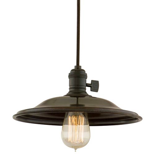 Hudson Valley Heirloom Old Bronze One-Light 5.5-Foot Cord Pendant with Small Flared Metal