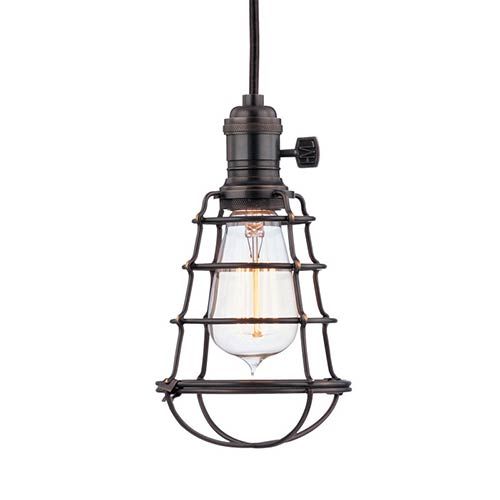Heirloom Old Bronze One-Light 5.5-Foot Cord Mini Pendant with Wire Guard