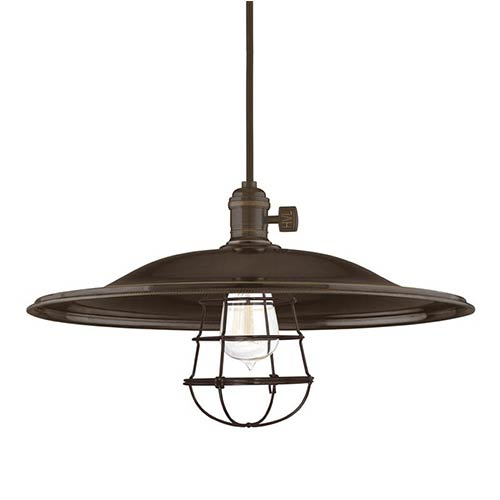Hudson Valley Heirloom Old Bronze One-Light Large Pendant-Flared Shade and Wire Guard-Medium