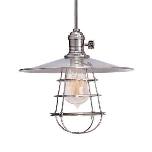 Hudson Valley Heirloom Polished Nickel One-Light 5.5-Foot Cord Pendant with Small Straight Metal and Wire Guard