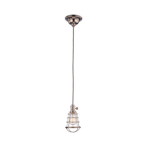 Heirloom Polished Nickel One-Light 5.5-Foot Cord Mini Pendant with Wire Guard