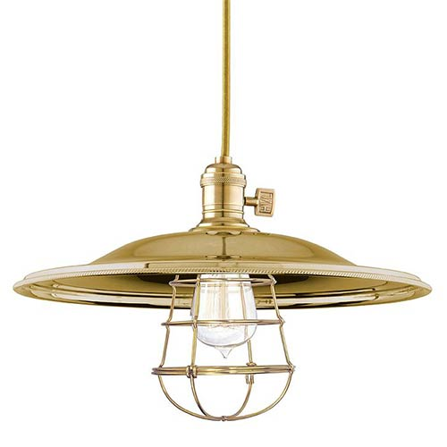 Hudson Valley Heirloom Aged Brass One-Light Medium Pendant-Flared Shade and Wire Guard-Medium