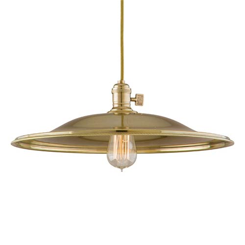 Hudson Valley Heirloom Aged Brass One-Light 11-Foot Cord Pendant with Large Flared Metal