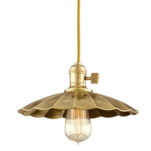 Hudson Valley Heirloom Aged Brass One-Light 11-Foot Cord Pendant with Small Scalloped Metal