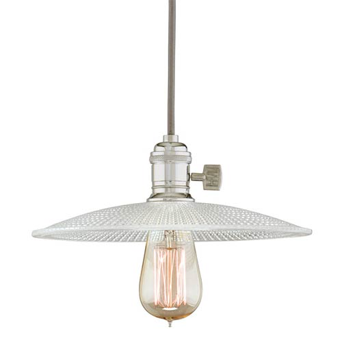 Hudson Valley Heirloom Polished Nickel One-Light 11-Foot Cord Pendant with Small Straight Glass