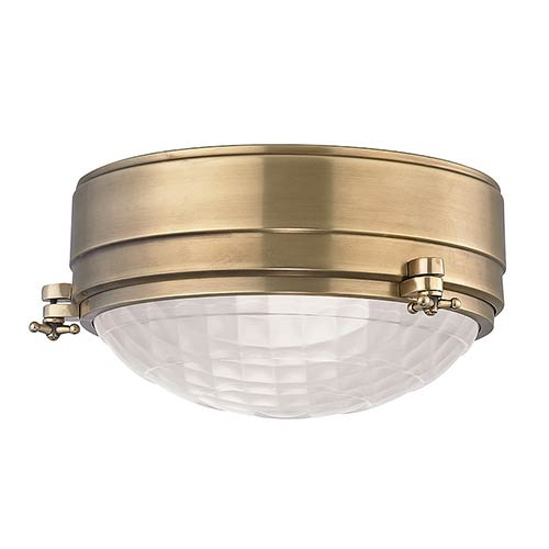 Hudson Valley Belmont Aged Brass Two-Light 9-Inch Wide Flush Mount with Frosted Glass